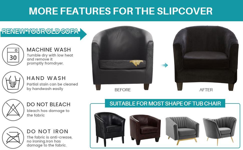 2 piece tub chair slipcover