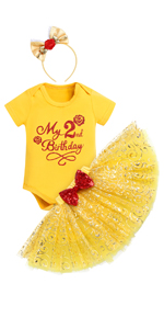 2nd Birthday Outfit Baby Girls Princess Themed 2nd Birthday Party Supply Cosplay Halloween Outfits