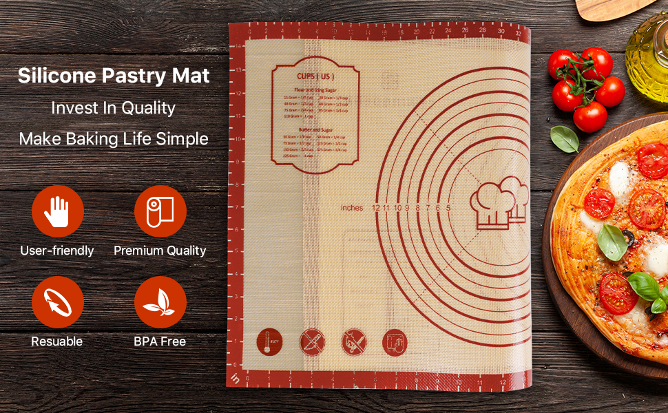 Large Non-slip 26*16 Inch Silicone Pastry Baking Mat