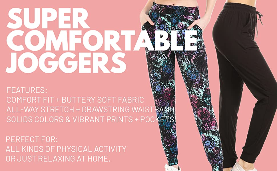 joggers comfort fit buttery soft fabric all way stretch drawstring waistband solid print pockets