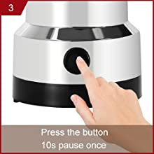 3. Press the button to start working, 10s pause once;