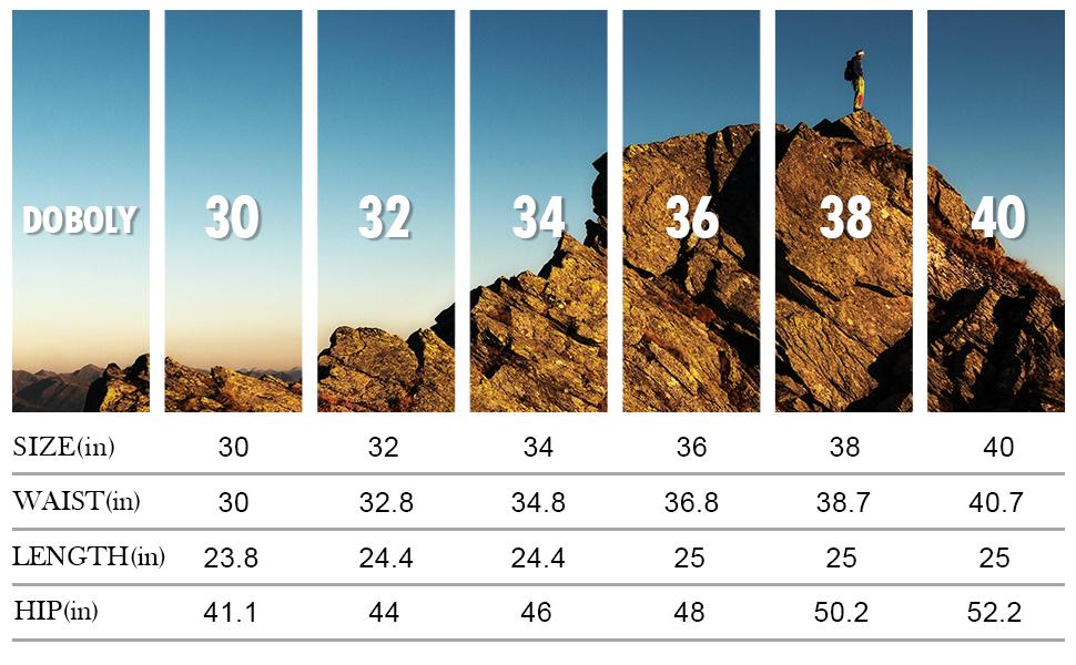 Size Chart of Men Cargo Work Shorts