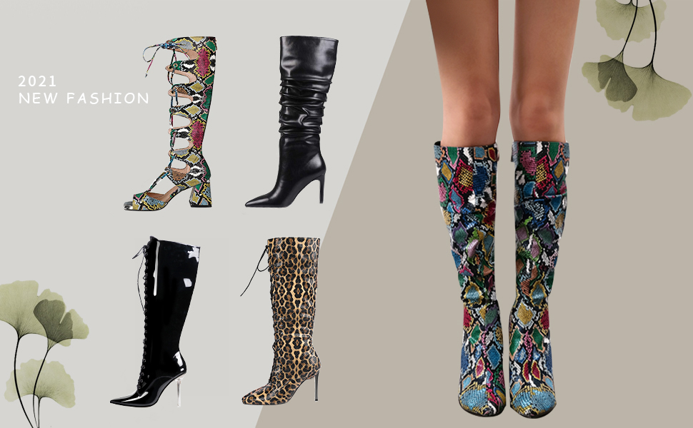 WETKISS Womens Knee High Colorful Snakeskin Boots Mid-Calf Snake Print Booties