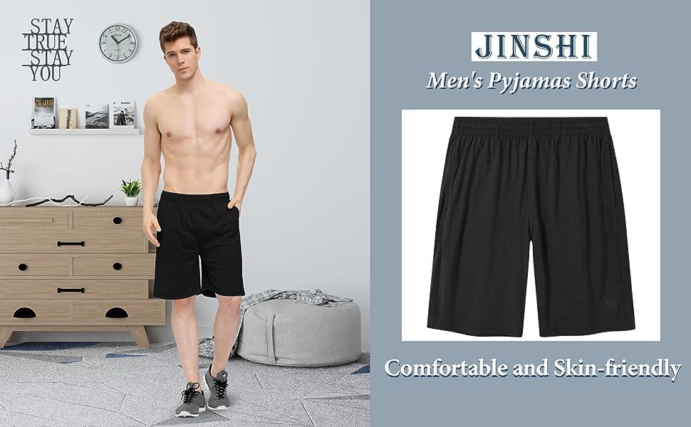 JINSHI Men's cotton lounge pyjama shorts
