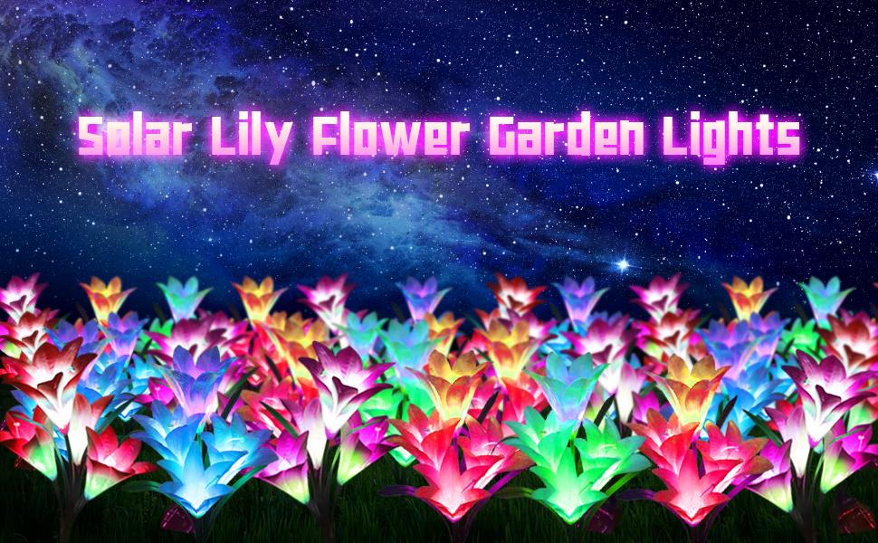 solar spot lights outdoor garden solar lights flower solar lily flower lights garden color lights