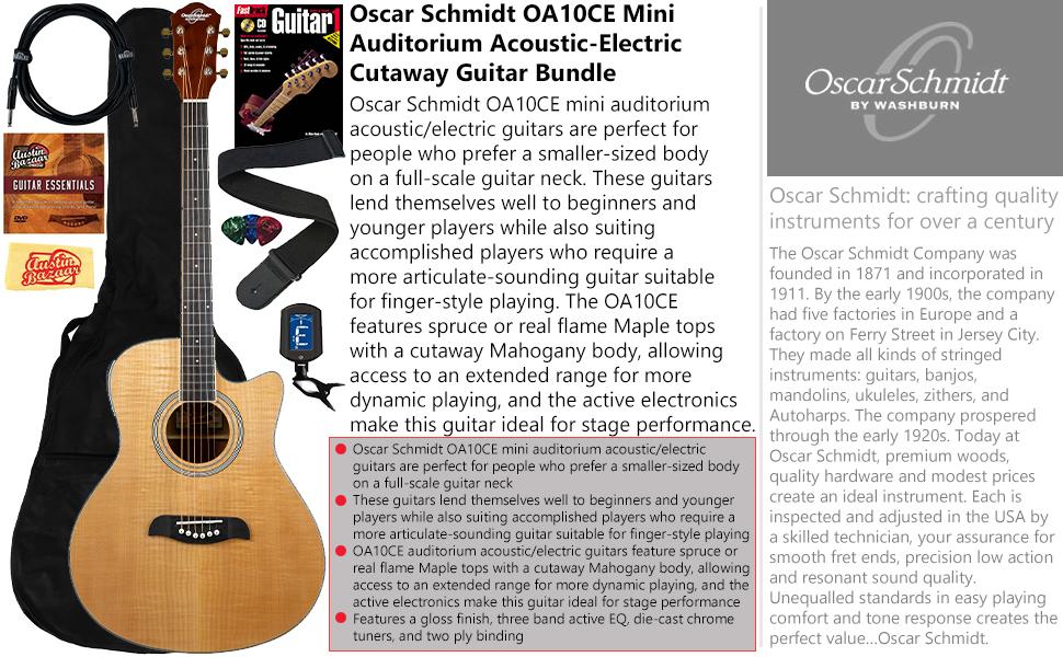 Oscar Schmidt OA10CE Mini Auditorium Acoustic Electric Cutaway Guitar Bundle