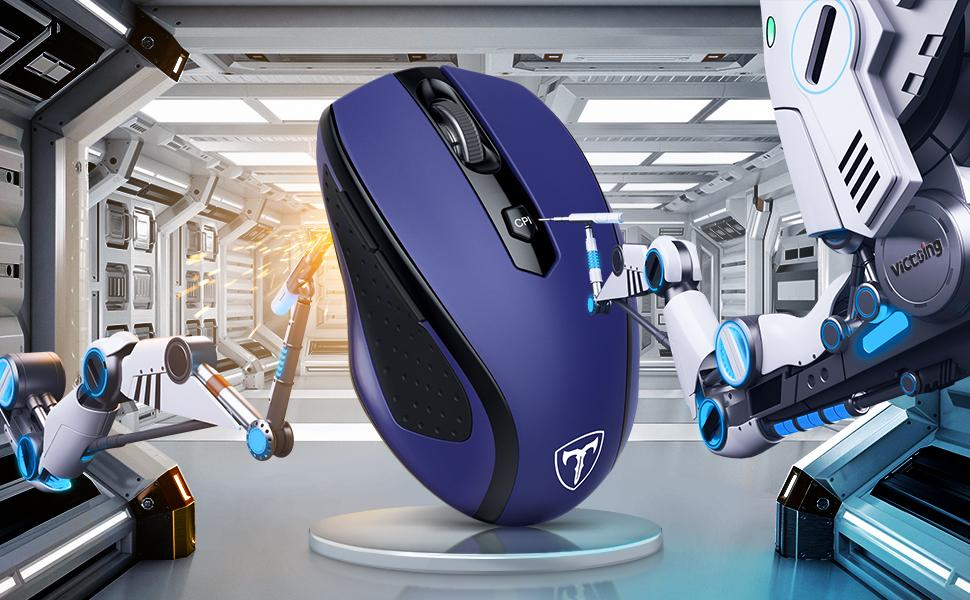 Ergonomics Cordless Mouse with USB Receiver, Finger Rest, 5 Adjustable DPI Levels