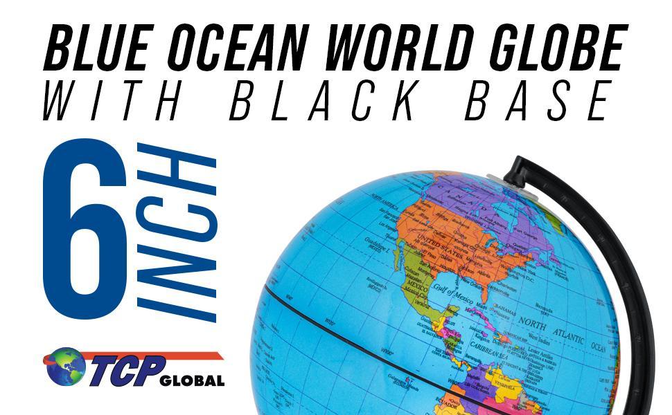 """TCP Global 6"""" Blue Ocean World Globe With Black Base"""