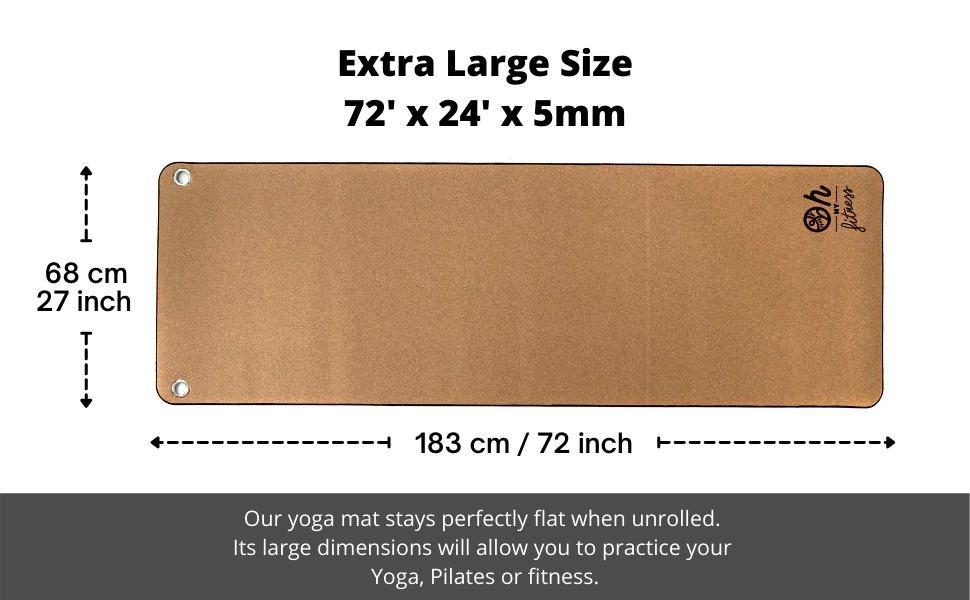 Extra large Size of your cork yoga mat