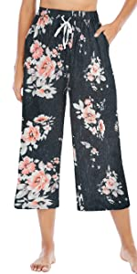 Womens Floral Print Elastic Waist Cropped Pants