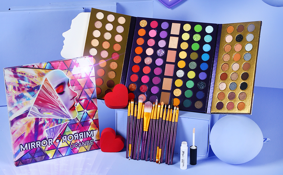 114 shades eyeshadow palette with brushes set