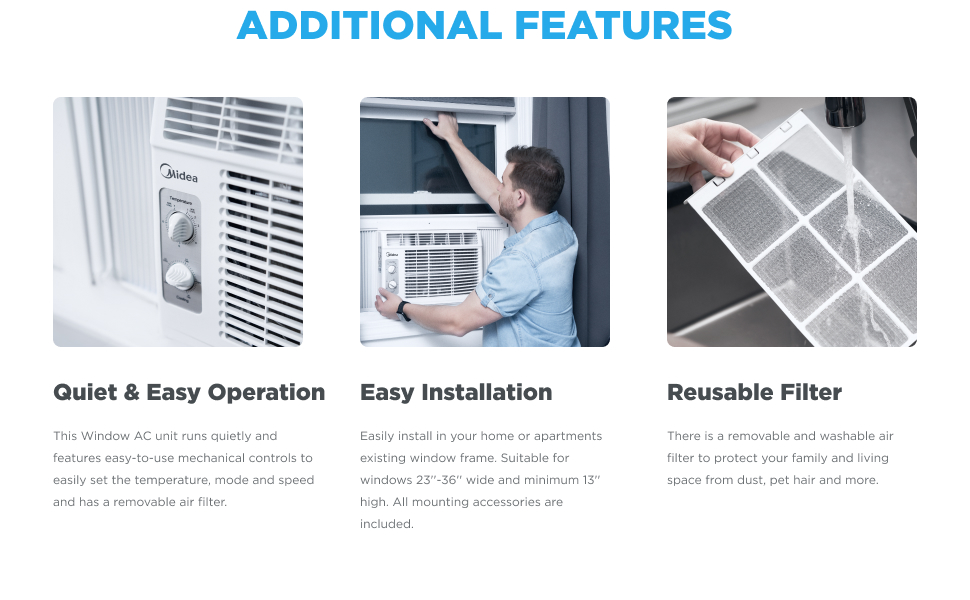 Midea window air conditioner (window ac unit) is quiet, easy to install and has a reusable filter