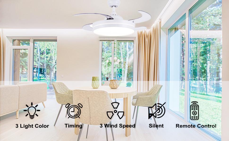 ventilateur de plafond avec telecommande silencieux design