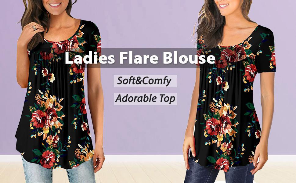 Ladies Flare Blouse Short sleeve floral top summer women clothing ruffle top tunic for leggings