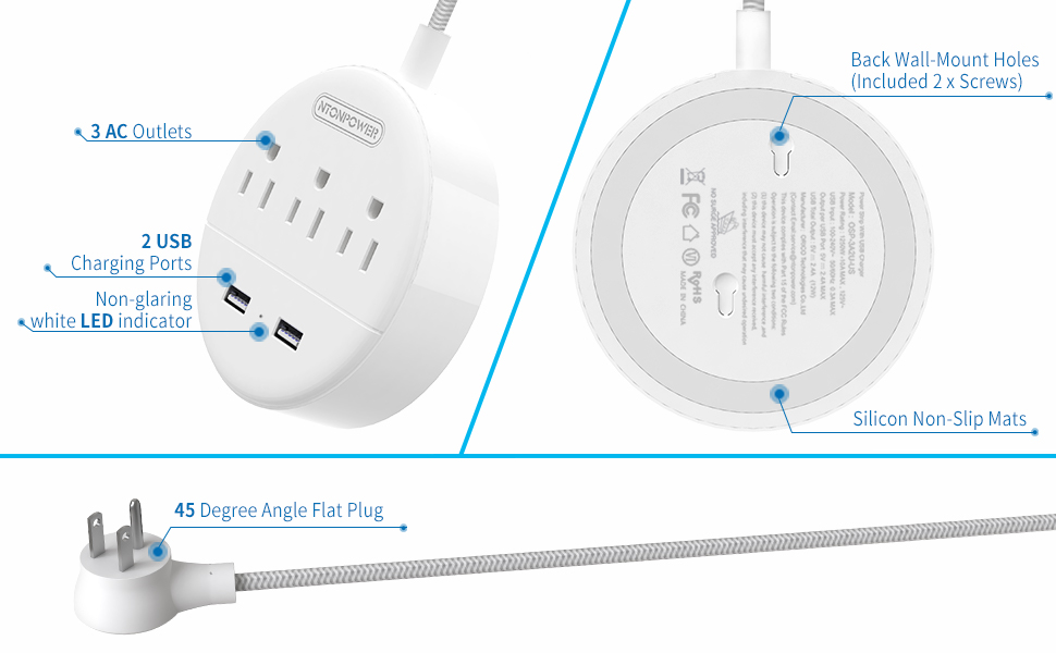 usb power strip flat plug