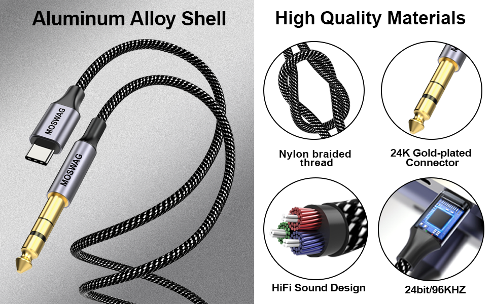 usb c to 6.35mm audio cable