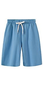 Womens Casual Elastic Waist Knee Length Bermuda Shorts with Drawstring