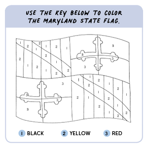 Use the key below to color the Maryland state flag.