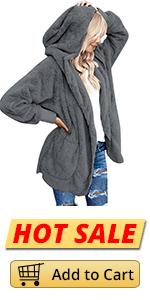 LookbookStore Womenamp;#39;s Fleece Open Front Sherpa Coat