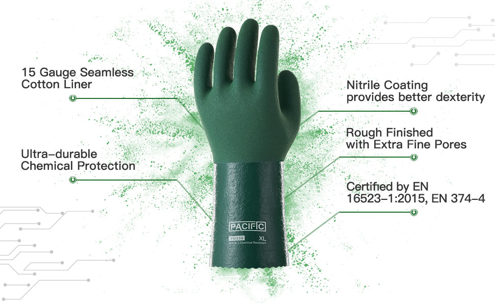 PACIFIC PPE Nitrile Chemical Resistant Gloves