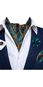 teal brown paisley ascot tie pocket square cufflinks and lapel pin set