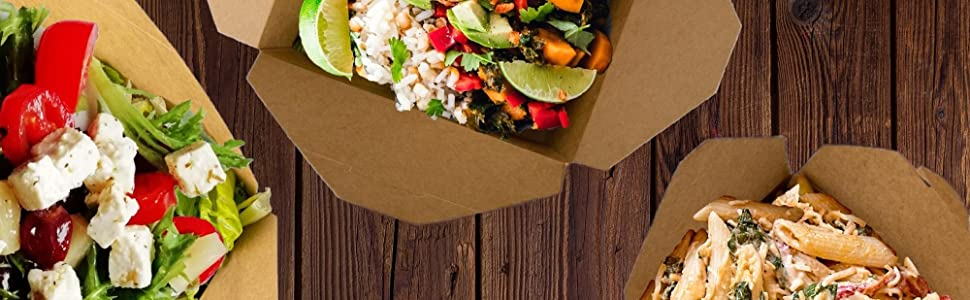 Take Out Food Containers Microwaveable Kraft Brown Take Out Boxes Leak and Grease Resistant Food