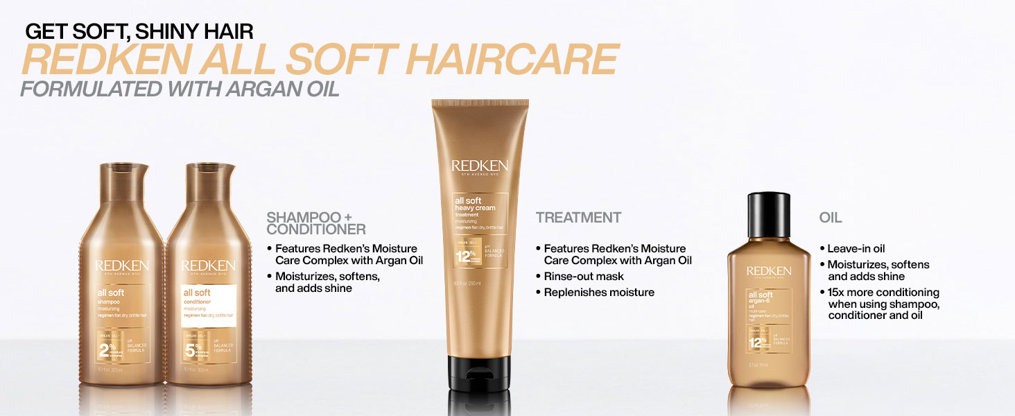 get soft shiny hair with Redken all soft hair care formulated with argan oil