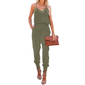 Women's Casual Solid Lace Tank Army Green Jumpsuits