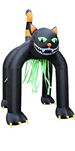 13 Foot Tall Halloween Inflatable Black Cat Archway