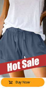 Women Comfy Drawstring Casual Elastic Waist Cotton Shorts with Pockets