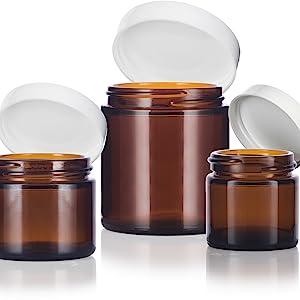 amber 3  glass jar