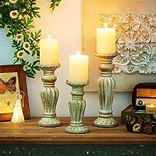 shabby chic candleholder set rustic ivory