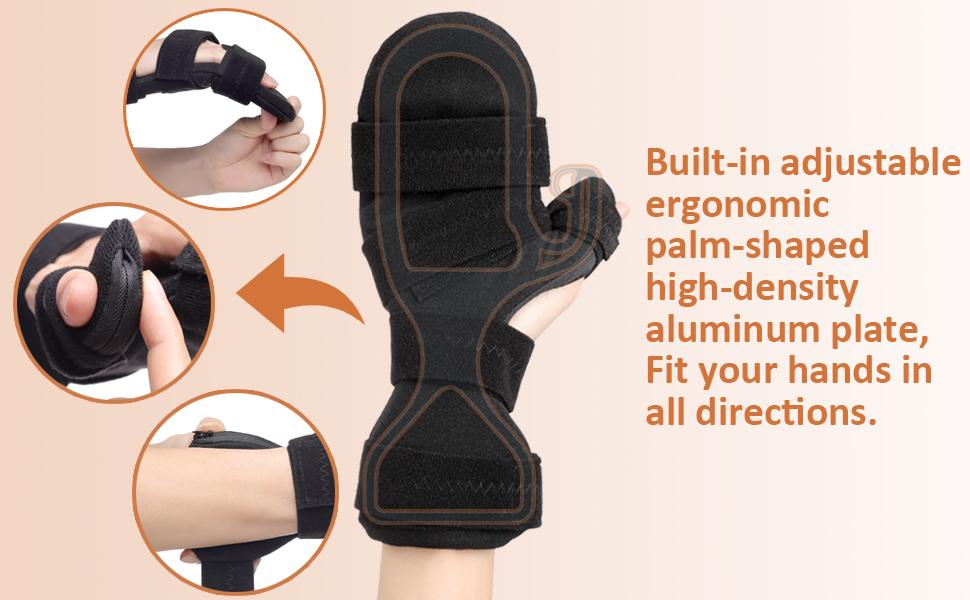 Built-in adjustable  ergonomic  palm-shaped  high-density  aluminum plate