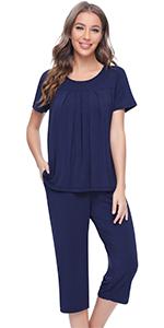 women pajamas short sleeve sleepwear top capri pants pjs set bamboo viscose loungewear