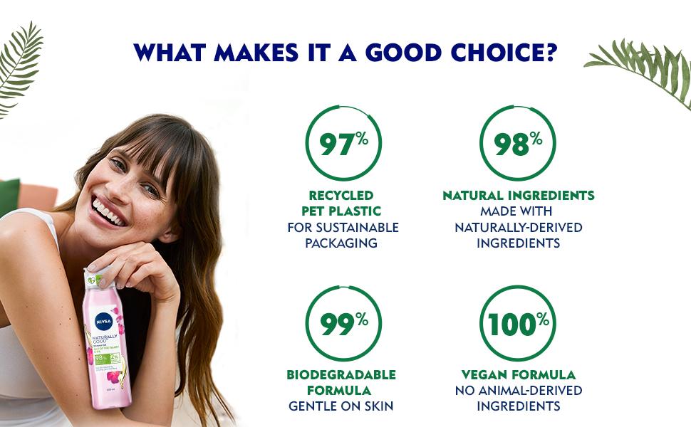NIVEA,Women, Body Wash, Shower Gel, Natural Ingredients