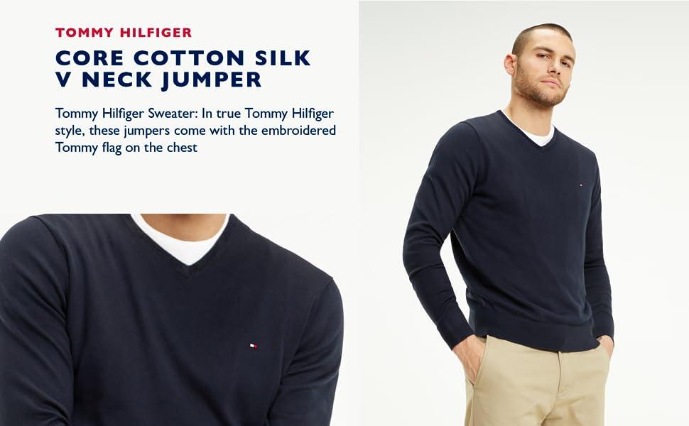 Core Cotton Silk V Neck Jumper
