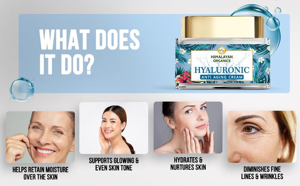 Himalayan Organics Hyaluronic Acid Anti Aging Cream, Anti Wrinkle, Skin Brightening - 50ml