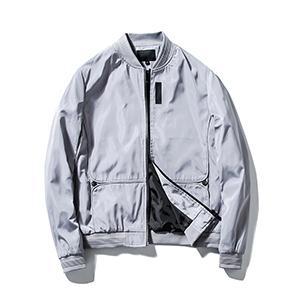 Guanzizai Menamp;#39;s Lightweight bomber jacket Softshell outwear Zipper Windbreaker Flight Coat Gray