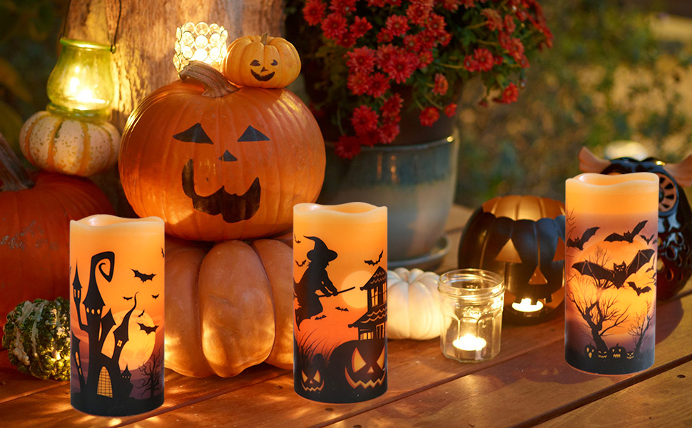 battery operated flameless candles flickering Halloween