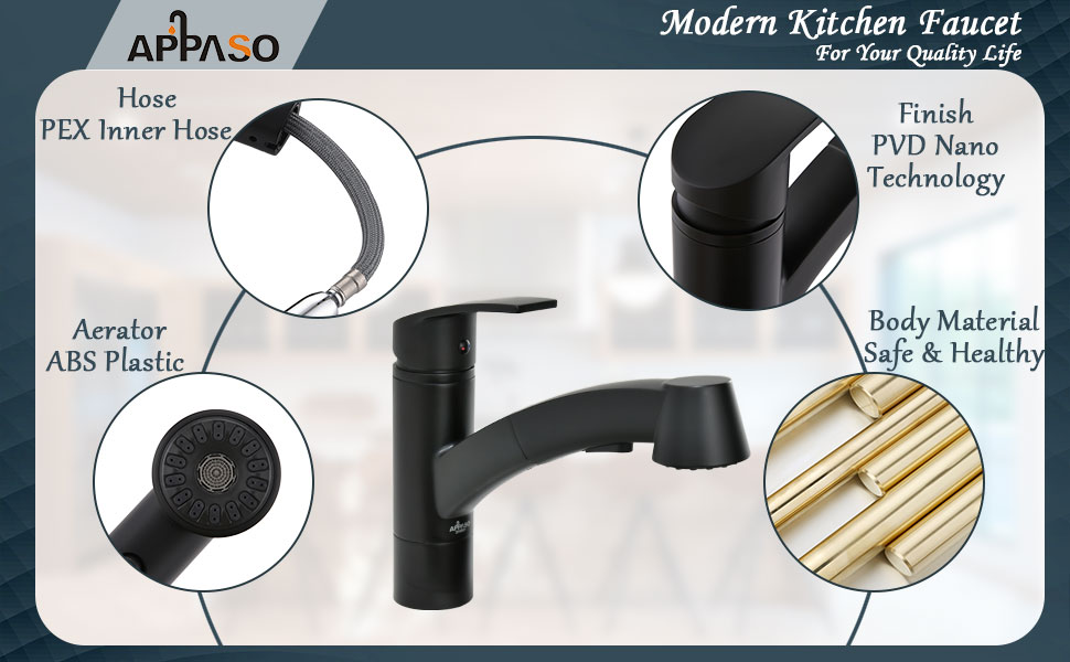 APPASO Single Handle kitchen Faucet with Pull Out Sprayer, Modern Kitchen Faucet Single Lever
