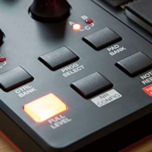 FULL LEVEL SWITCHED ON BUTTON  SHINING  IN  RED.