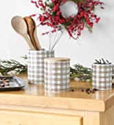 Christmas check canister set in a kitchen