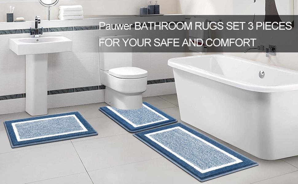 Bathroom Rug Set 3 Piece Microfiber Absorbent Bath Shower Mat Carpets and U-Shaped Toilet Rug