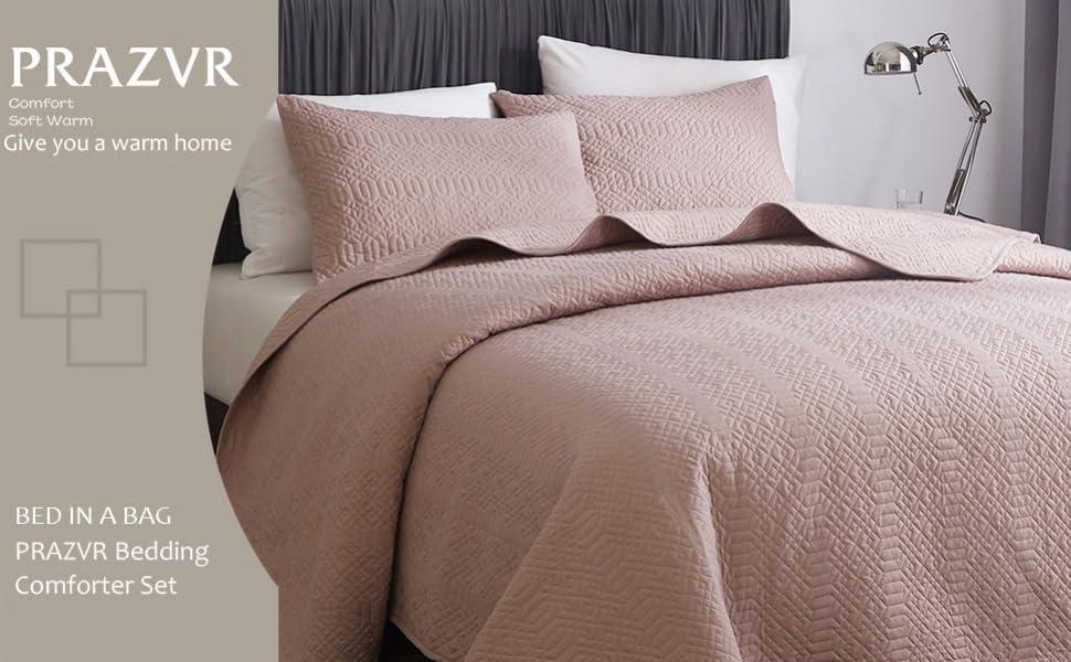 PRAZVR Quilt Set Lightweight Coverlet Modern Style Pattern Bedspread Bedding Set