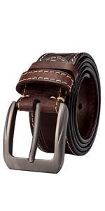 Mens Belt Leather Casual for Jeans Double Loop Work Belt for Men Dress Belt