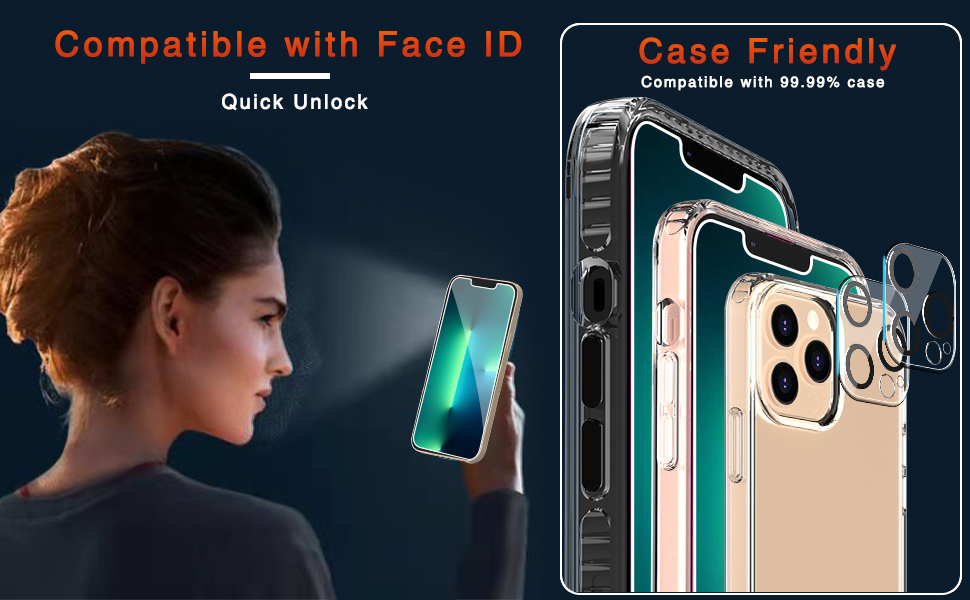 Ferilinso Designed for iPhone 13 Pro Screen Protector+Camera Lens Protector
