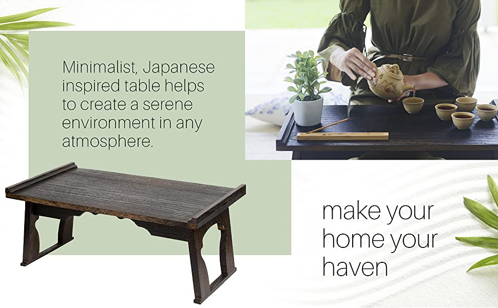 make your home your haven, minimalist Japanese inspired table helps to create serenity