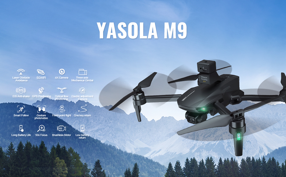 Yasola GPS Drones with 4K HD Camera 3-Axis Gimbal Camera,Obstacle Avoidance,EIS Anti-Shake