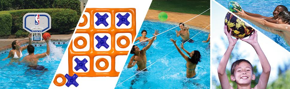 pool games, pool football, waterproof football, pool basketball, yard games, beach games, pool party
