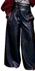 PU Faux Leather Wide Leg Pants